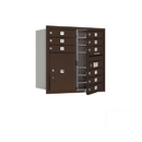 Salsbury Industries 3708D-09ZFP Recessed Mounted 4C Horizontal Mailbox - 8 Door High Unit (30 1/2 Inches) - Double Column - 9 MB1 Doors / 1 PL5 - Bronze - Front Loading - Private Access