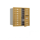 Salsbury Industries 3708D-13GFP Recessed Mounted 4C Horizontal Mailbox (Includes Master Commercial Lock)-8 Door High Unit (30 1/2 Inches)-Double Column-13 MB1 Doors-Gold-Front Loading-Private Access