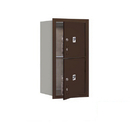 Salsbury Industries 3708S-2PZFP Recessed Mounted 4C Horizontal Mailbox-8 Door High Unit (30 1/2 Inches)-Single Column-Stand-Alone Parcel Locker-2 PL4's-Bronze-Front Loading-Private Access