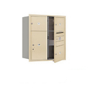 Salsbury Industries 3709D-03SFU Recessed Mounted 4C Horizontal Mailbox - 9 Door High Unit (34 Inches) - Double Column - 3 MB3 Doors / 1 PL6 - Sandstone - Front Loading - USPS Access