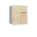 Salsbury Industries 3709D-03SRP Recessed Mounted 4C Horizontal Mailbox - 9 Door High Unit (34 Inches) - Double Column - 3 MB3 Doors / 1 PL6 - Sandstone - Rear Loading - Private Access