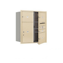 Salsbury Industries 3709D-04SFU Recessed Mounted 4C Horizontal Mailbox - 9 Door High Unit (34 Inches) - Double Column - 1 MB1 Door / 3 MB3 Doors / 1 PL6 - Sandstone - Front Loading - USPS Access