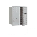 Salsbury Industries 3709D-10AFP Recessed Mounted 4C Horizontal Mailbox - 9 Door High Unit (34 Inches) - Double Column - 10 MB1 Doors / 1 PL6 - Aluminum - Front Loading - Private Access