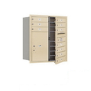 Salsbury Industries 3709D-10SFP Recessed Mounted 4C Horizontal Mailbox - 9 Door High Unit (34 Inches) - Double Column - 10 MB1 Doors / 1 PL6 - Sandstone - Front Loading - Private Access