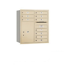 Salsbury Industries 3709D-10SRU Recessed Mounted 4C Horizontal Mailbox - 9 Door High Unit (34 Inches) - Double Column - 10 MB1 Doors / 1 PL6 - Sandstone - Rear Loading - USPS Access