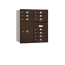 Salsbury Industries 3709D-10ZRU Recessed Mounted 4C Horizontal Mailbox - 9 Door High Unit (34 Inches) - Double Column - 10 MB1 Doors / 1 PL6 - Bronze - Rear Loading - USPS Access