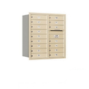 Salsbury Industries 3709D-16SRU Recessed Mounted 4C Horizontal Mailbox - 9 Door High Unit (34 Inches) - Double Column - 16 MB1 Doors - Sandstone - Rear Loading - USPS Access