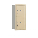 Salsbury Industries 3709S-2PSRU Recessed Mounted 4C Horizontal Mailbox-9 Door High Unit (34 Inches)-Single Column-Stand-Alone Parcel Locker-1 PL4 and 1 PL5-Sandstone-Rear Loading-USPS Access