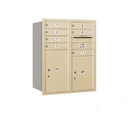 Salsbury Industries 3710D-07SRP Recessed Mounted 4C Horizontal Mailbox - 10 Door High Unit (37 1/2 Inches) - Double Column - 7 MB1 Doors / 1 PL5 and 1 PL6 - Sandstone - Rear Loading - Private Access