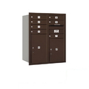 Salsbury Industries 3710D-07ZRP Recessed Mounted 4C Horizontal Mailbox - 10 Door High Unit (37 1/2 Inches) - Double Column - 7 MB1 Doors / 1 PL5 and 1 PL6 - Bronze - Rear Loading - Private Access