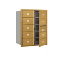 Salsbury Industries 3710D-09GFP Recessed Mounted 4C Horizontal Mailbox (Includes Master Commercial Lock)-10 Door High Unit (37 1/2 Inches)-Double Column-9 MB2 Doors-Gold-Front Loading-Private Access