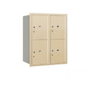 Salsbury Industries 3710D-4PSRP Recessed Mounted 4C Horizontal Mailbox-10 Door High Unit (37 1/2 Inches)-Double Column-Stand-Alone Parcel Locker-4 PL5's-Sandstone-Rear Loading-Private Access