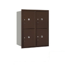 Salsbury Industries 3710D-4PZRP Recessed Mounted 4C Horizontal Mailbox-10 Door High Unit (37 1/2 Inches)-Double Column-Stand-Alone Parcel Locker-4 PL5's-Bronze-Rear Loading-Private Access