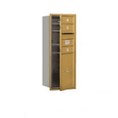 Salsbury Industries 3710S-03GFU Recessed Mounted 4C Horizontal Mailbox - 10 Door High Unit (37 1/2 Inches) - Single Column - 3 MB1 Doors / 1 PL5 - Gold - Front Loading - USPS Access