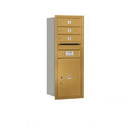 Salsbury Industries 3710S-03GRU Recessed Mounted 4C Horizontal Mailbox - 10 Door High Unit (37 1/2 Inches) - Single Column - 3 MB1 Doors / 1 PL5 - Gold - Rear Loading - USPS Access