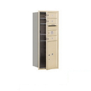 Salsbury Industries 3710S-03SFP Recessed Mounted 4C Horizontal Mailbox - 10 Door High Unit (37 1/2 Inches) - Single Column - 3 MB1 Doors / 1 PL5 - Sandstone - Front Loading - Private Access