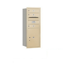 Salsbury Industries 3710S-03SRP Recessed Mounted 4C Horizontal Mailbox - 10 Door High Unit (37 1/2 Inches) - Single Column - 3 MB1 Doors / 1 PL5 - Sandstone - Rear Loading - Private Access