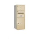Salsbury Industries 3710S-03SRU Recessed Mounted 4C Horizontal Mailbox - 10 Door High Unit (37 1/2 Inches) - Single Column - 3 MB1 Doors / 1 PL5 - Sandstone - Rear Loading - USPS Access