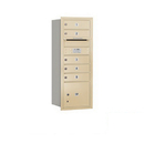Salsbury Industries 3710S-05SRP Recessed Mounted 4C Horizontal Mailbox - 10 Door High Unit (37 1/2 Inches) - Single Column - 5 MB1 Doors / 1 PL3 - Sandstone - Rear Loading - Private Access