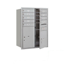 Salsbury Industries 3711D-09AFP Recessed Mounted 4C Horizontal Mailbox - 11 Door High Unit (41 Inches) - Double Column - 9 MB1 Door / 1 PL5 and 1 PL6 - Aluminum - Front Loading - Private Access