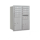 Salsbury Industries 3711D-09ARP Recessed Mounted 4C Horizontal Mailbox - 11 Door High Unit (41 Inches) - Double Column - 9 MB1 Door / 1 PL5 and 1 PL6 - Aluminum - Rear Loading - Private Access