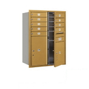 Salsbury Industries 3711D-09GFP Recessed Mounted 4C Horizontal Mailbox - 11 Door High Unit (41 Inches) - Double Column - 9 MB1 Door / 1 PL5 and 1 PL6 - Gold - Front Loading - Private Access