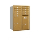 Salsbury Industries 3711D-09GRP Recessed Mounted 4C Horizontal Mailbox - 11 Door High Unit (41 Inches) - Double Column - 9 MB1 Door / 1 PL5 and 1 PL6 - Gold - Rear Loading - Private Access