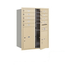 Salsbury Industries 3711D-09SFP Recessed Mounted 4C Horizontal Mailbox - 11 Door High Unit (41 Inches) - Double Column - 9 MB1 Door / 1 PL5 and 1 PL6 - Sandstone - Front Loading - Private Access