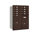 Salsbury Industries 3711D-09ZRP Recessed Mounted 4C Horizontal Mailbox - 11 Door High Unit (41 Inches) - Double Column - 9 MB1 Door / 1 PL5 and 1 PL6 - Bronze - Rear Loading - Private Access