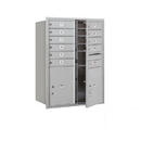 Salsbury Industries 3711D-10AFP Recessed Mounted 4C Horizontal Mailbox - 11 Door High Unit (41 Inches) - Double Column - 10 MB1 Doors / 2 PL5s - Aluminum - Front Loading - Private Access