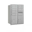 Salsbury Industries 3711D-10ARP Recessed Mounted 4C Horizontal Mailbox - 11 Door High Unit (41 Inches) - Double Column - 10 MB1 Doors / 2 PL5s - Aluminum - Rear Loading - Private Access