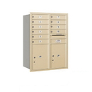 Salsbury Industries 3711D-10SRU Recessed Mounted 4C Horizontal Mailbox - 11 Door High Unit (41 Inches) - Double Column - 10 MB1 Doors / 2 PL5s - Sandstone - Rear Loading - USPS Access