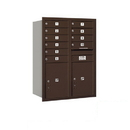 Salsbury Industries 3711D-10ZRP Recessed Mounted 4C Horizontal Mailbox - 11 Door High Unit (41 Inches) - Double Column - 10 MB1 Doors / 2 PL5s - Bronze - Rear Loading - Private Access