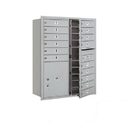 Salsbury Industries 3711D-15AFP Recessed Mounted 4C Horizontal Mailbox - 11 Door High Unit (41 Inches) - Double Column - 15 MB1 Doors / 1 PL5 - Aluminum - Front Loading - Private Access