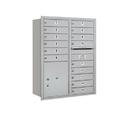 Salsbury Industries 3711D-15ARU Recessed Mounted 4C Horizontal Mailbox - 11 Door High Unit (41 Inches) - Double Column - 15 MB1 Doors / 1 PL5 - Aluminum - Rear Loading - USPS Access