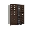 Salsbury Industries 3711D-15ZFU Recessed Mounted 4C Horizontal Mailbox - 11 Door High Unit (41 Inches) - Double Column - 15 MB1 Doors / 1 PL5 - Bronze - Front Loading - USPS Access