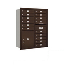 Salsbury Industries 3711D-15ZRP Recessed Mounted 4C Horizontal Mailbox - 11 Door High Unit (41 Inches) - Double Column - 15 MB1 Doors / 1 PL5 - Bronze - Rear Loading - Private Access