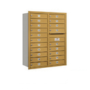 Salsbury Industries 3711D-20GRU Recessed Mounted 4C Horizontal Mailbox - 11 Door High Unit (41 Inches) - Double Column - 20 MB1 Doors - Gold - Rear Loading - USPS Access