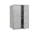 Salsbury Industries 3711D-4PAFP Recessed Mounted 4C Horizontal Mailbox-11 Door High Unit (41 Inches)-Double Column-Stand-Alone Parcel Locker-3 PL5's and 1 PL6-Aluminum-Front Loading-Private Access