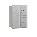 Salsbury Industries 3711D-4PARU Recessed Mounted 4C Horizontal Mailbox-11 Door High Unit (41 Inches)-Double Column-Stand-Alone Parcel Locker-3 PL5's and 1 PL6-Aluminum-Rear Loading-USPS Access