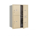 Salsbury Industries 3711D-4PSFU Recessed Mounted 4C Horizontal Mailbox-11 Door High Unit (41 Inches)-Double Column-Stand-Alone Parcel Locker-3 PL5's and 1 PL6-Sandstone-Front Loading-USPS Access