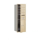 Salsbury Industries 3711S-04SFU Recessed Mounted 4C Horizontal Mailbox - 11 Door High Unit (41 Inches) - Single Column - 4 MB1 Doors / 1 PL5 - Sandstone - Front Loading - USPS Access
