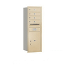 Salsbury Industries 3711S-04SRU Recessed Mounted 4C Horizontal Mailbox - 11 Door High Unit (41 Inches) - Single Column - 4 MB1 Doors / 1 PL5 - Sandstone - Rear Loading - USPS Access