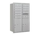 Salsbury Industries 3712D-10ARU Recessed Mounted 4C Horizontal Mailbox - 12 Door High Unit (44 1/2 Inches) - Double Column - 10 MB1 Doors / 2 PL6s - Aluminum - Rear Loading - USPS Access