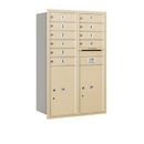Salsbury Industries 3712D-10SRU Recessed Mounted 4C Horizontal Mailbox - 12 Door High Unit (44 1/2 Inches) - Double Column - 10 MB1 Doors / 2 PL6s - Sandstone - Rear Loading - USPS Access