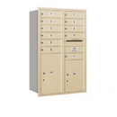 Salsbury Industries 3712D-11SRP Recessed Mounted 4C Horizontal Mailbox - 12 Door High Unit (44 1/2 Inches) - Double Column - 11 MB1 Doors / 1 PL5/1 PL6 - Sandstone - Rear Loading - Private Access
