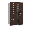Salsbury Industries 3712D-11ZFP Recessed Mounted 4C Horizontal Mailbox - 12 Door High Unit (44 1/2 Inches) - Double Column - 11 MB1 Doors / 1 PL5 and 1 PL6 - Bronze - Front Loading - Private Access