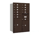 Salsbury Industries 3712D-11ZRP Recessed Mounted 4C Horizontal Mailbox - 12 Door High Unit (44 1/2 Inches) - Double Column - 11 MB1 Doors / 1 PL5 and 1 PL6 - Bronze - Rear Loading - Private Access