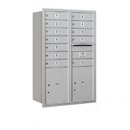 Salsbury Industries 3712D-12ARP Recessed Mounted 4C Horizontal Mailbox - 12 Door High Unit (44 1/2 Inches) - Double Column - 12 MB1 Doors / 2 PL5's - Aluminum - Rear Loading - Private Access