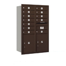 Salsbury Industries 3712D-12ZRP Recessed Mounted 4C Horizontal Mailbox - 12 Door High Unit (44 1/2 Inches) - Double Column - 12 MB1 Doors / 2 PL5's - Bronze - Rear Loading - Private Access